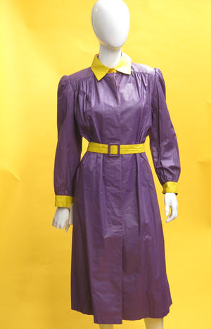 1980's Valentino Two Tone Belted Raincoat