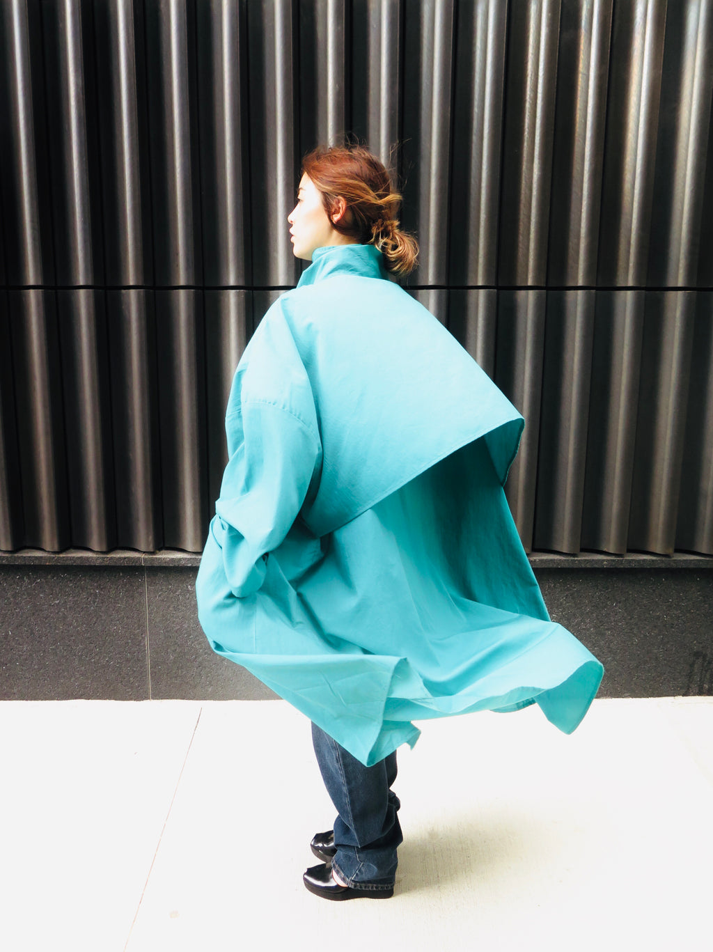 1980's Avant Garde High Collar Jade Duster