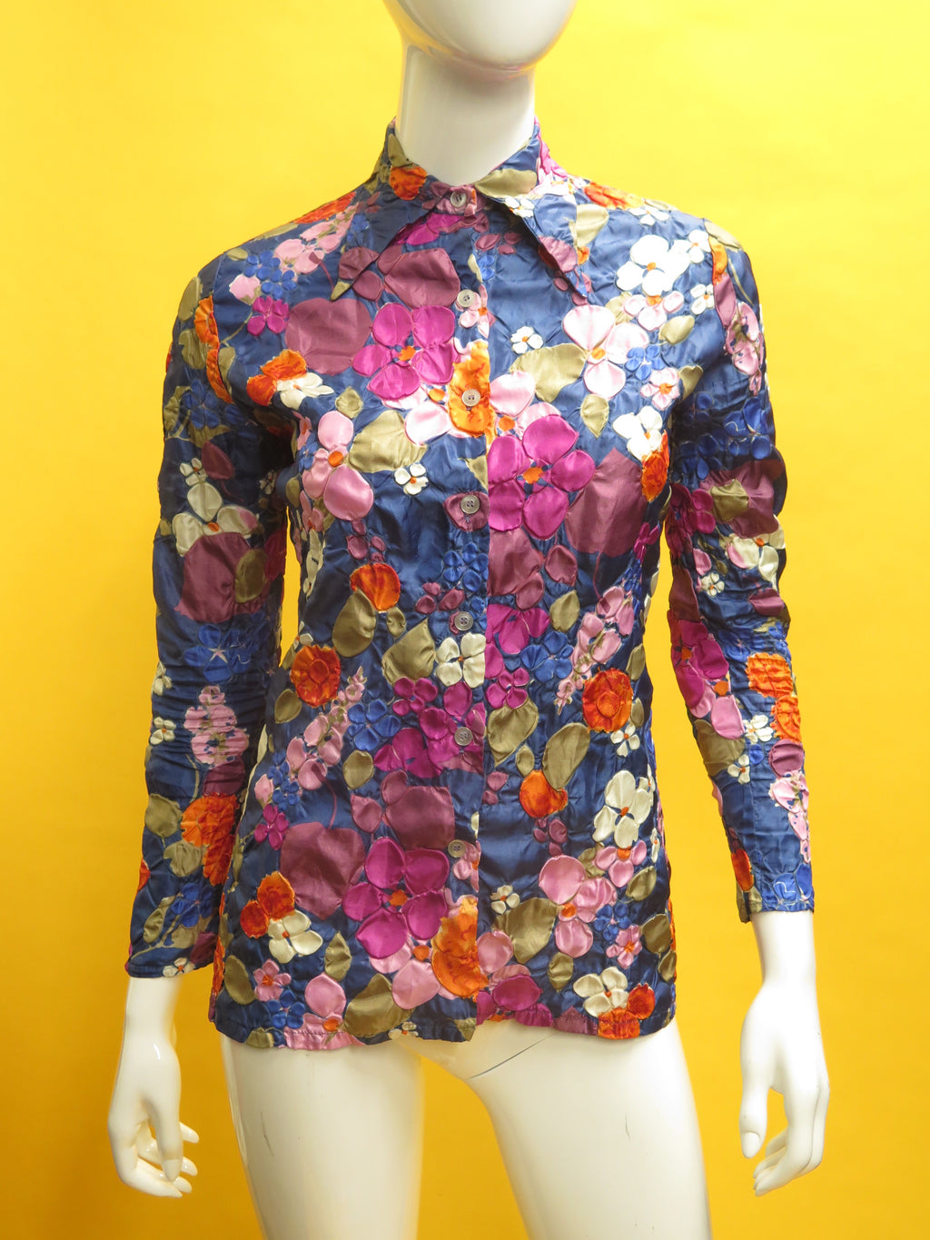 1970's Silk Floral Silk Jacquard Button Down Blouse