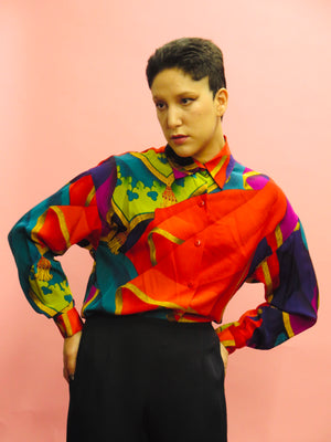 1990's Ellen Tracy silk Baroque Print Blouse