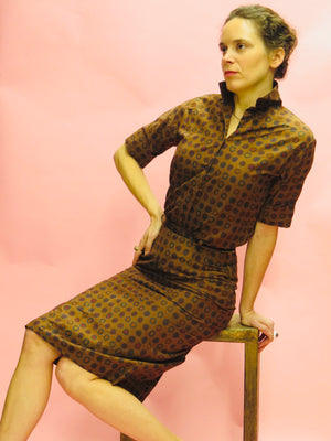 1960's Vicky Vaughn Polka Dot Cotton Skirt Set