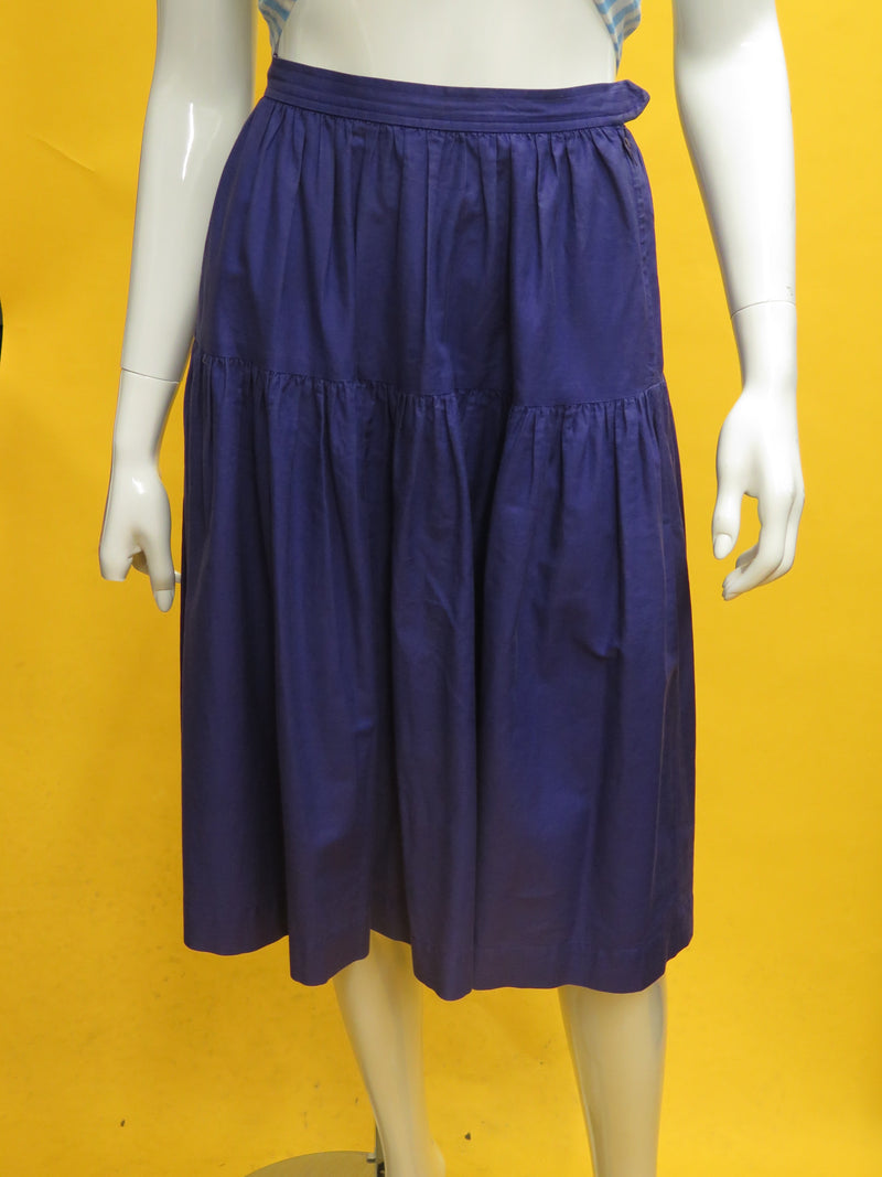 1970's Yves Saint Laurent Rive Gauche Indigo Cotton Peasant Skirt