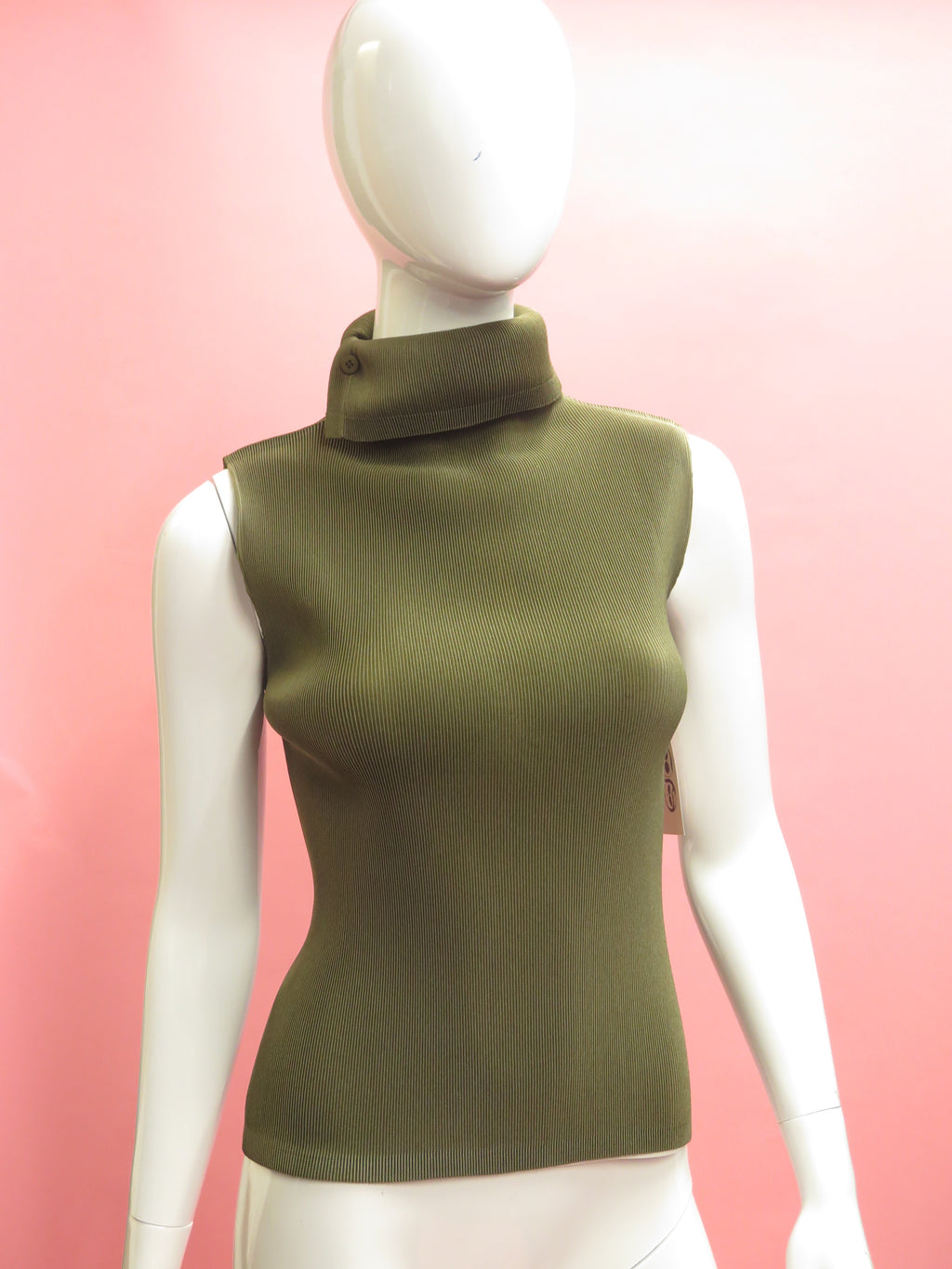 Issey Miyake Pleats Please Olive Funnel Neck Tunic Top