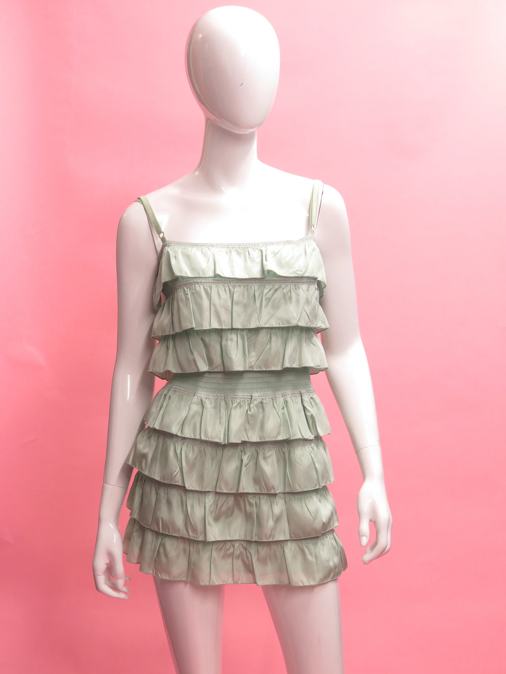 1990's D&G Dolce and Gabbana Mint Tiered Mini Dress