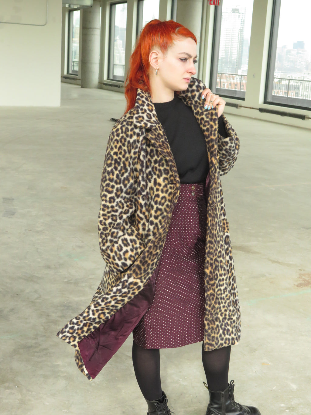 60's Faux Leopard Swing Coat
