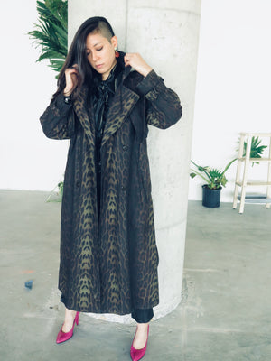 1990's Leopard Print Drizzle x Saks Fifth Avenue Mackintosh Trench coat