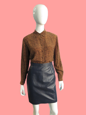 Ungaro Parallel Blueberry Leather Mini Skirt