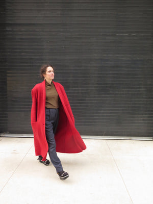 1980's Issey Miyake Rouge Mohair Knit Duster