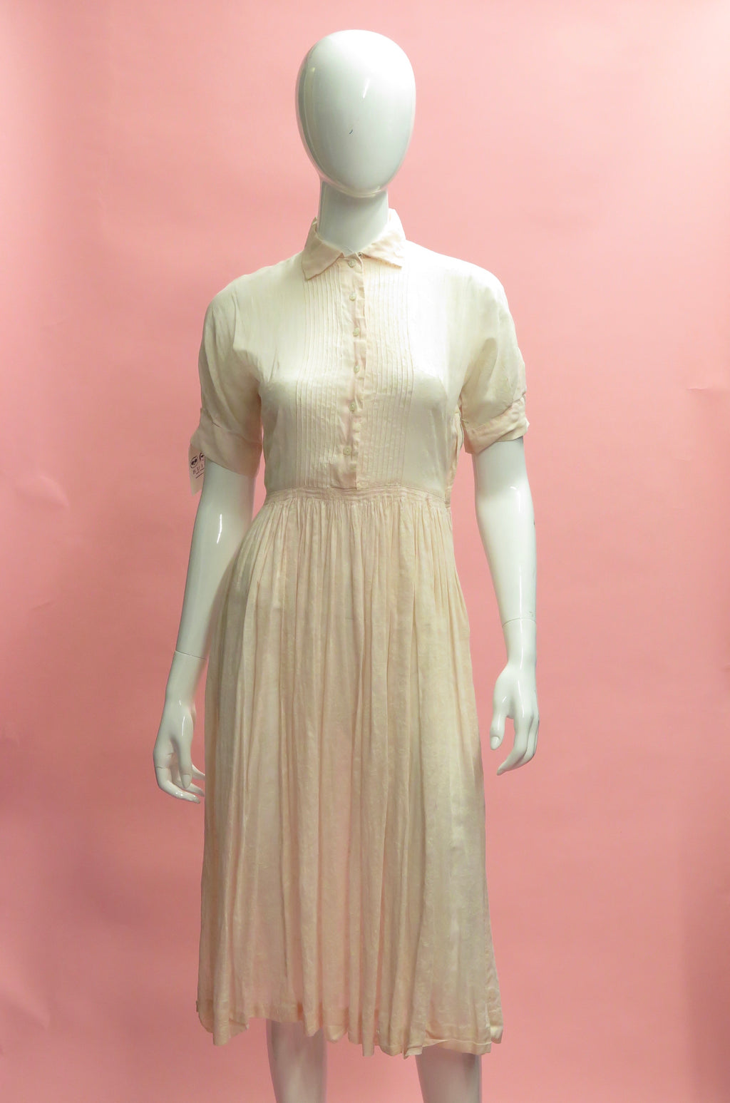 1950's Pale Pink Floral Flocked Cotton Dress
