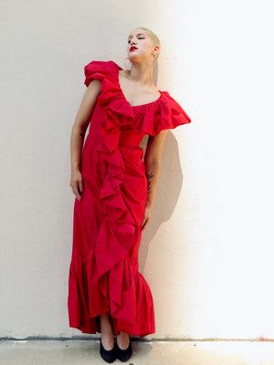 1960's Flamenco Red Ruffled Opera Dress