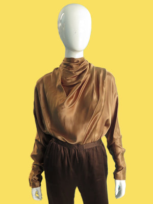 1980's Liquid Silk Cowl Neck Blouse