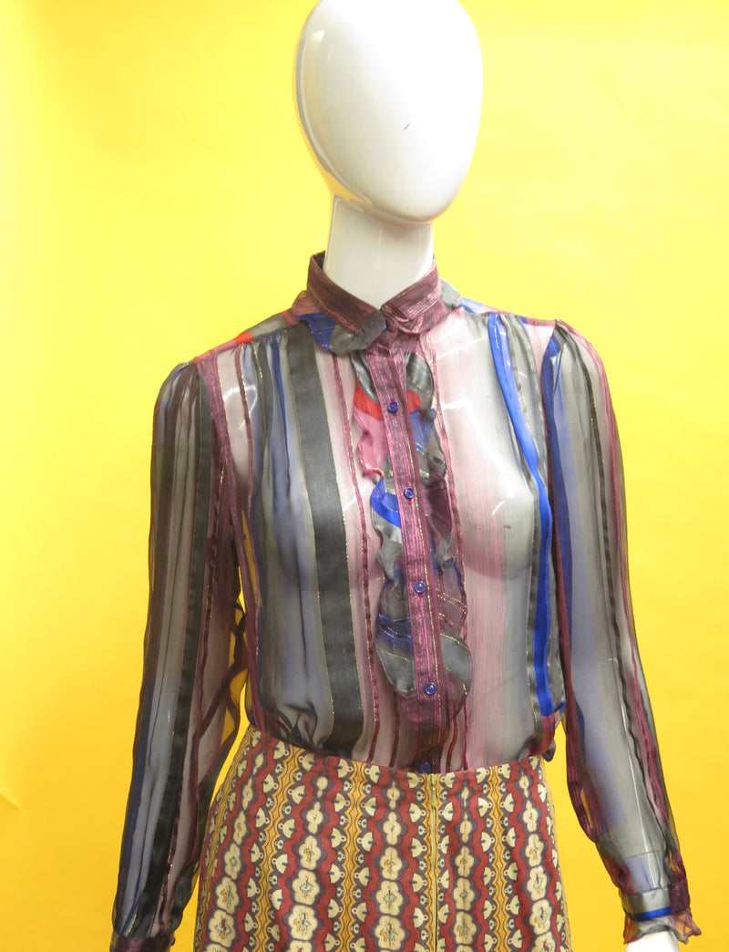 1980's Silk Farm Ruffle Bib Blouse