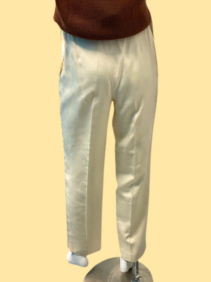 1980's Mary Ann Reativo Ivory Pleated Silk Trousers