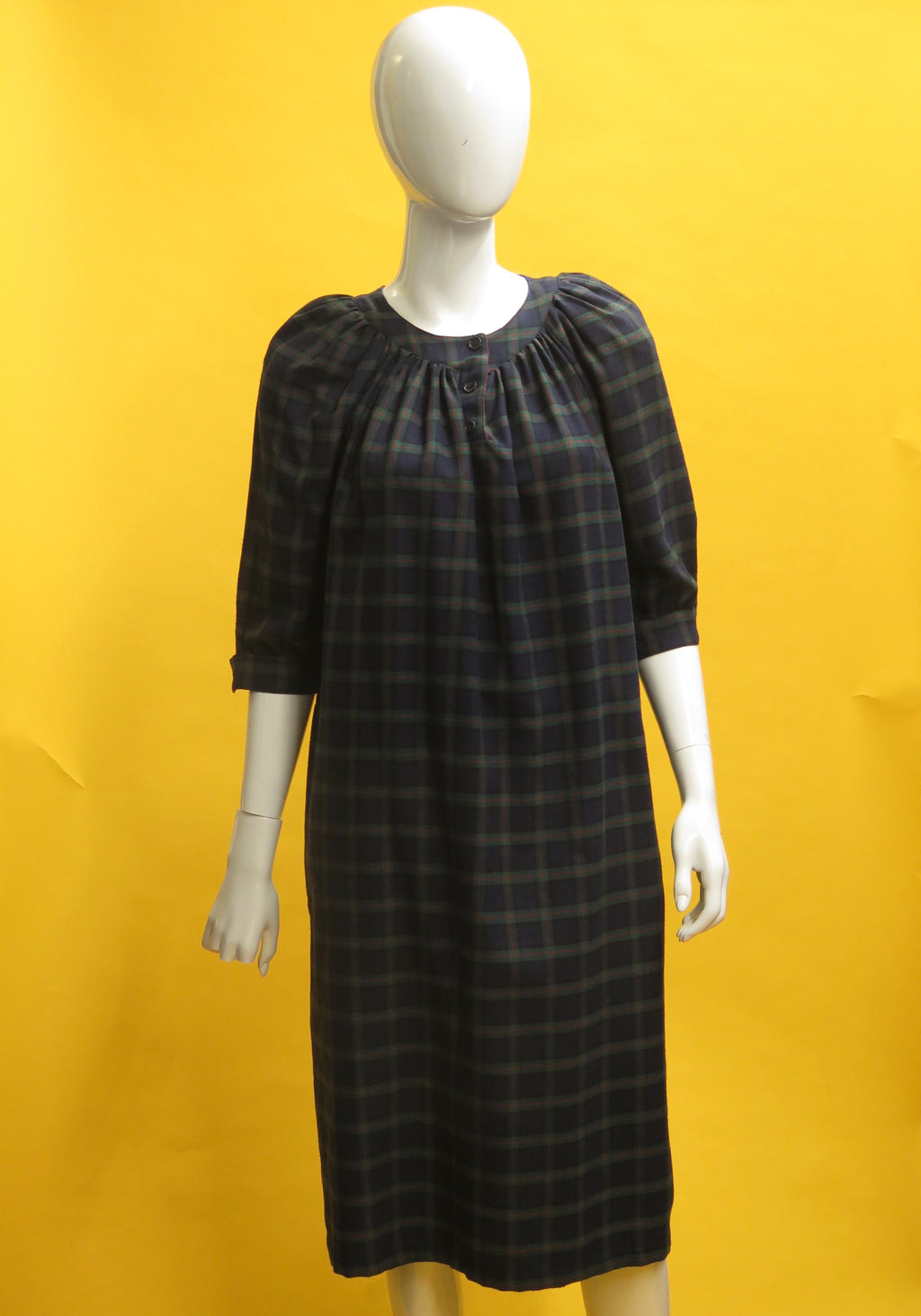 1970's French Wool Plaid Smock Dress