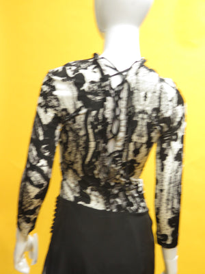 Roberto Cavalli Silk Jersey Paisley Lace Up Blouse