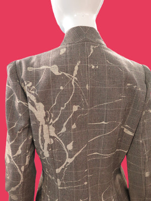 1990's John Galliano Paint Splatter Wool Check Jacket