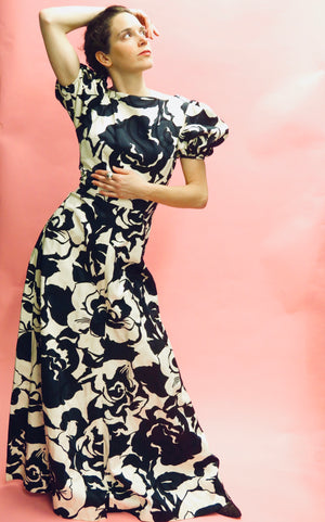 Floral Jacquard Short Puff Sleeve Gown