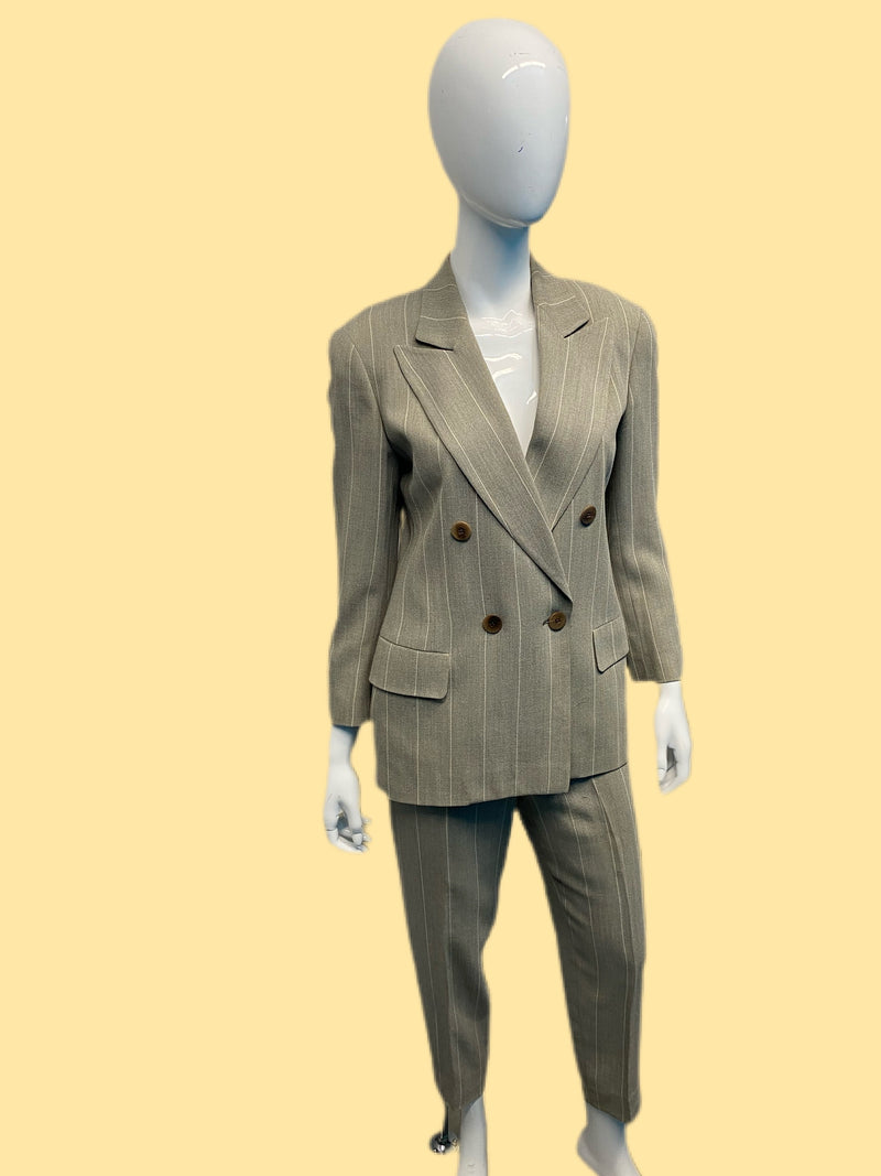 1980's Giorgio Armani Wool Striped Double Breasted Suit