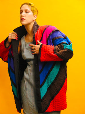 90's Rainbow Chevron Crepe de Chine Cocoon Coat