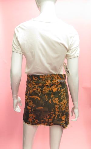 Jean Paul Gaultier Iconic Crowds Print Denim Mini Skirt
