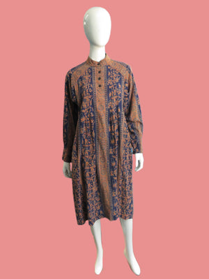 1970's Belted Indian Cotton Batik Print Dress