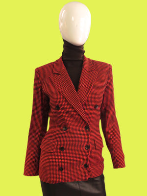 1990s KENZO City Persimmon Houndstooth Double Brewster Blazer