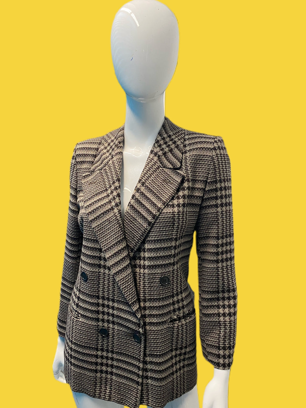 1980's Giorgio Armani Wool Check Double Breasted Jacket