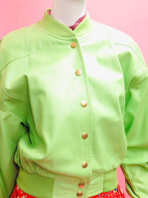 1990's Escada Lime Leather Bomber Jacket