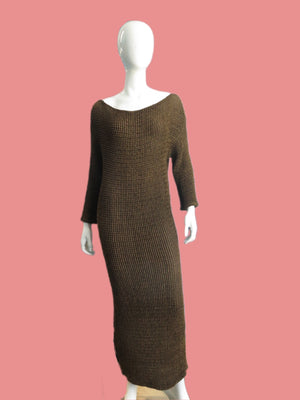 Callaghan x Romeo Gigli quilted puckered Olive Sheath Dress