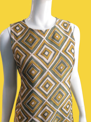 1990s Prada Wool Silk Painted Diamond Print A-Line Dress