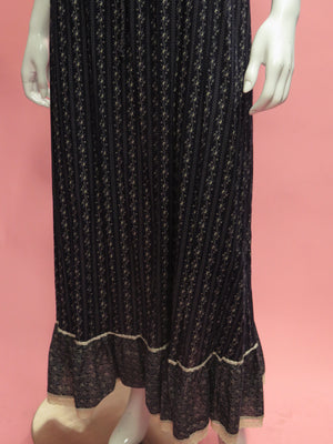 1970's Calico Cotton Prairie Maxi Dress