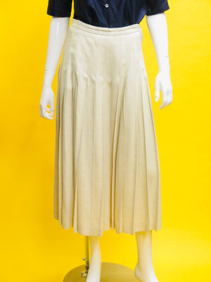 Linda Allard x Ellen Tracy Oatmeal Linen Pleated Skirt