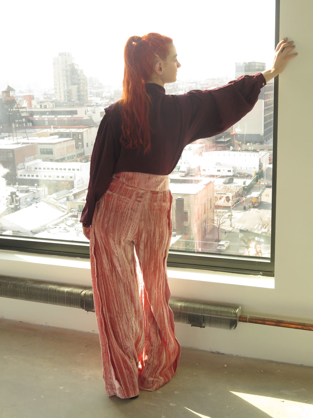 Regina Piyo Pink Crushed Velvet Wide leg Pants