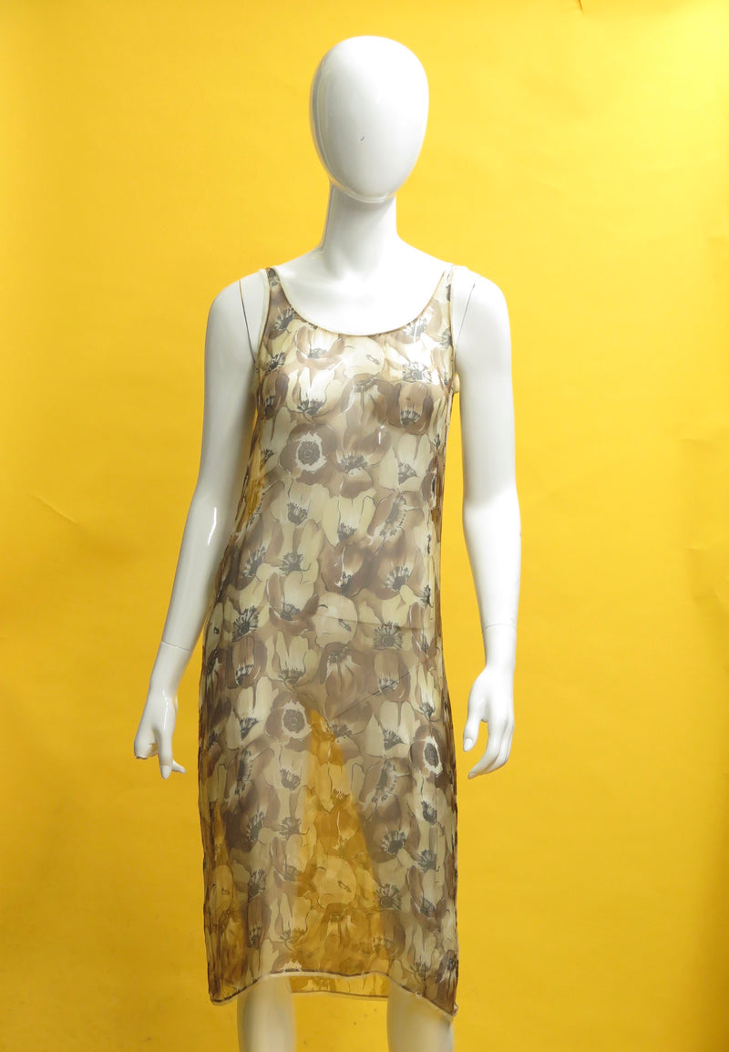 1990s Prada Sheer Floral Silk Slip Dress