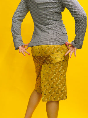 Jean Paul Gaultier Gold Silk Jacquard Printed Pencil Skirt