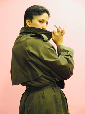 1990's Drizzle Olive Double Breasted Belted Duster