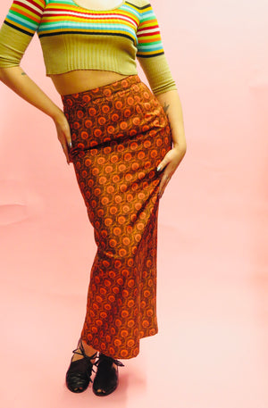 1990's Silk Shantung Batik Fitted Maxi Skirt