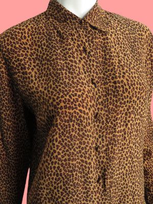 1990's Cheetah Print Silk Button Down Blouse