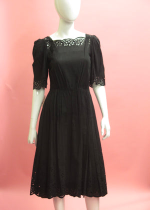 1980's Floral Eyelet German Prairie Dress