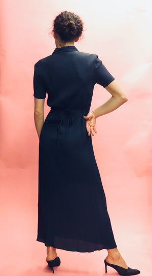 90's DKNY Jeans Crepe Empire Waist Tie Column Dress