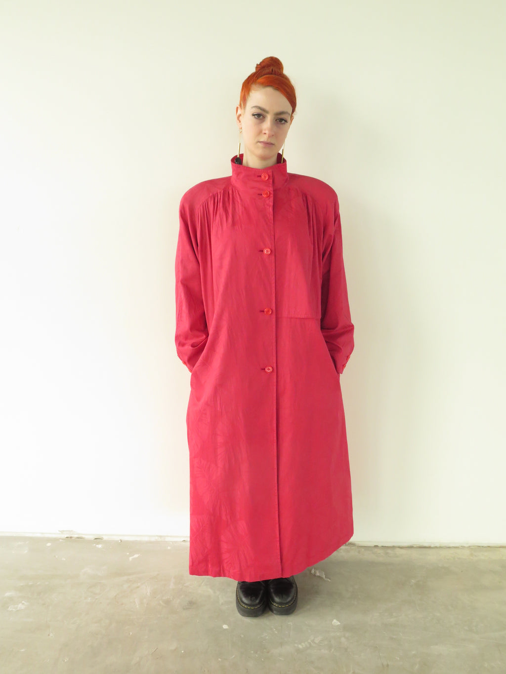80's Coral Cotton Jacquard Leaf print duster