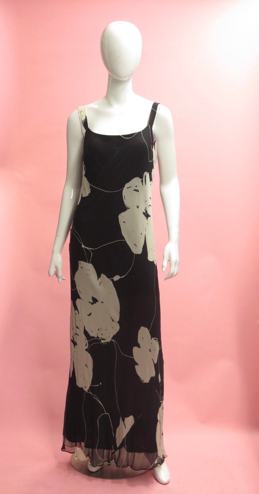 1990's Cattiva Bold Floral Chiffon Column Dress