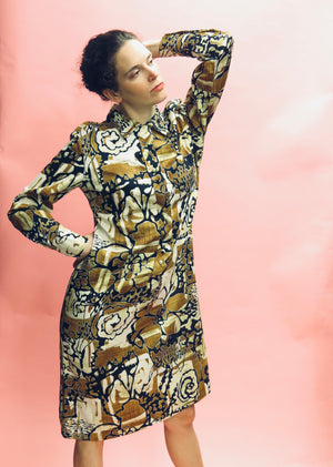 1970's Lanvin Graphic Flora Tunic Dress