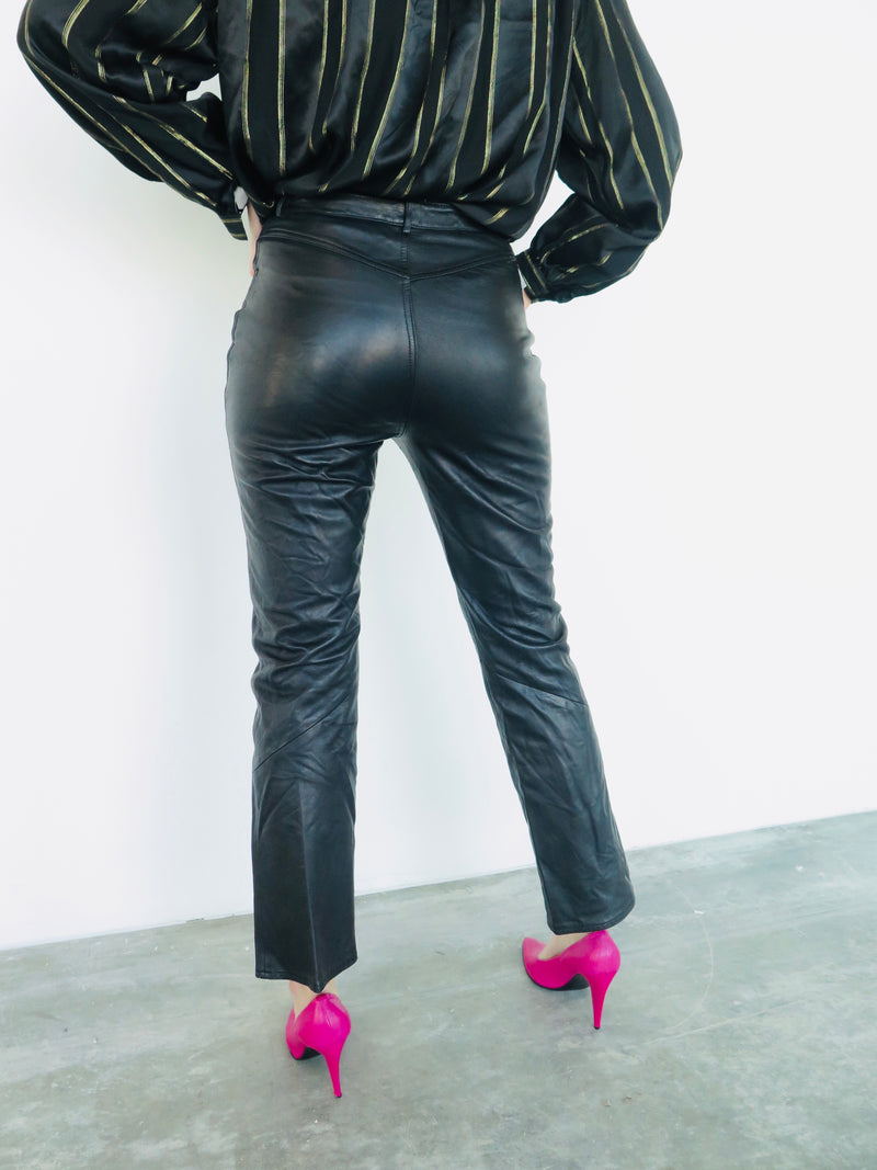 1990's Buttery Black Leather Pants