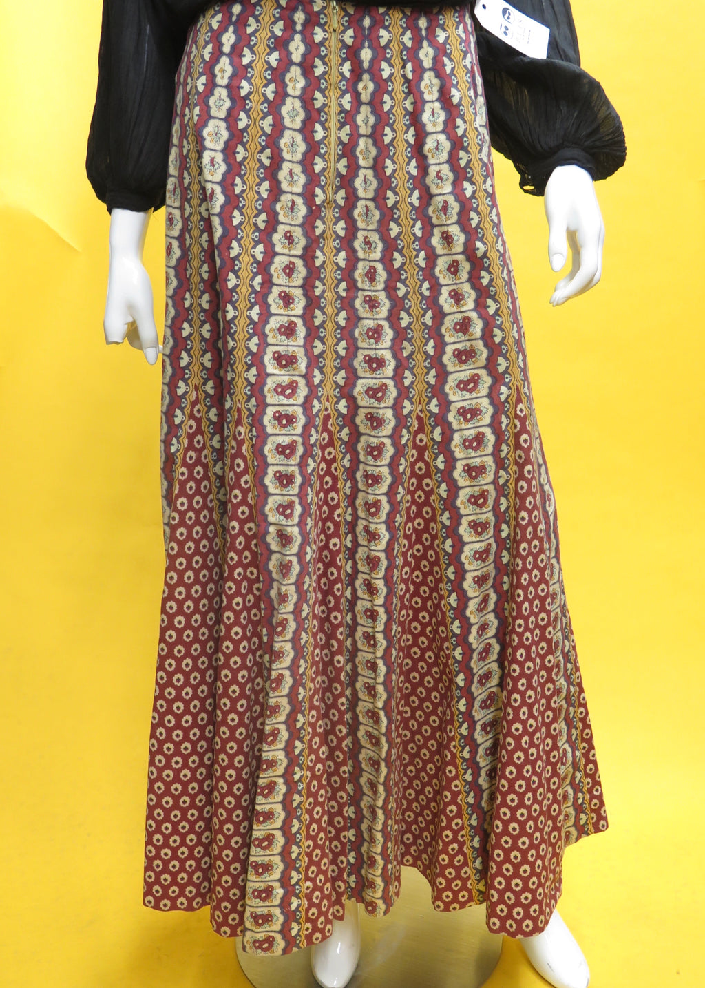 1970's French Bohemian Maxi Skirt