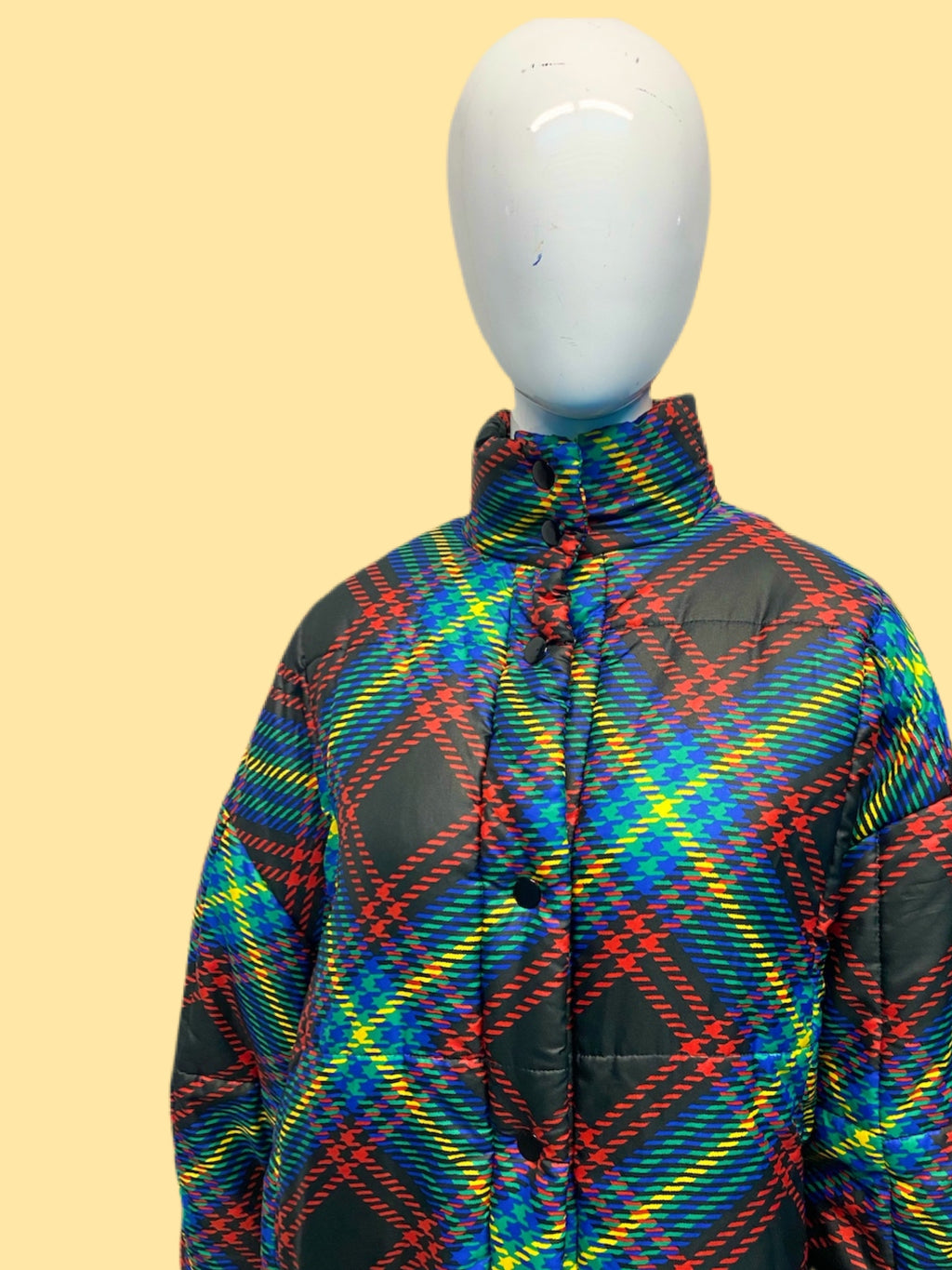 1990's Guy Laroche Silk Houndstooth Plaid Puffer Jacket