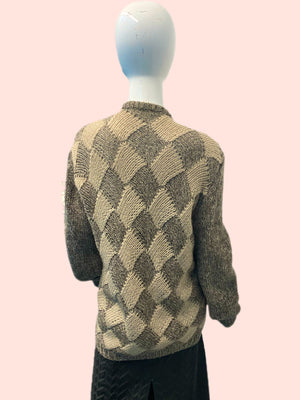 1980's Gucci Contrast Wool Lattice Knit Cardigan