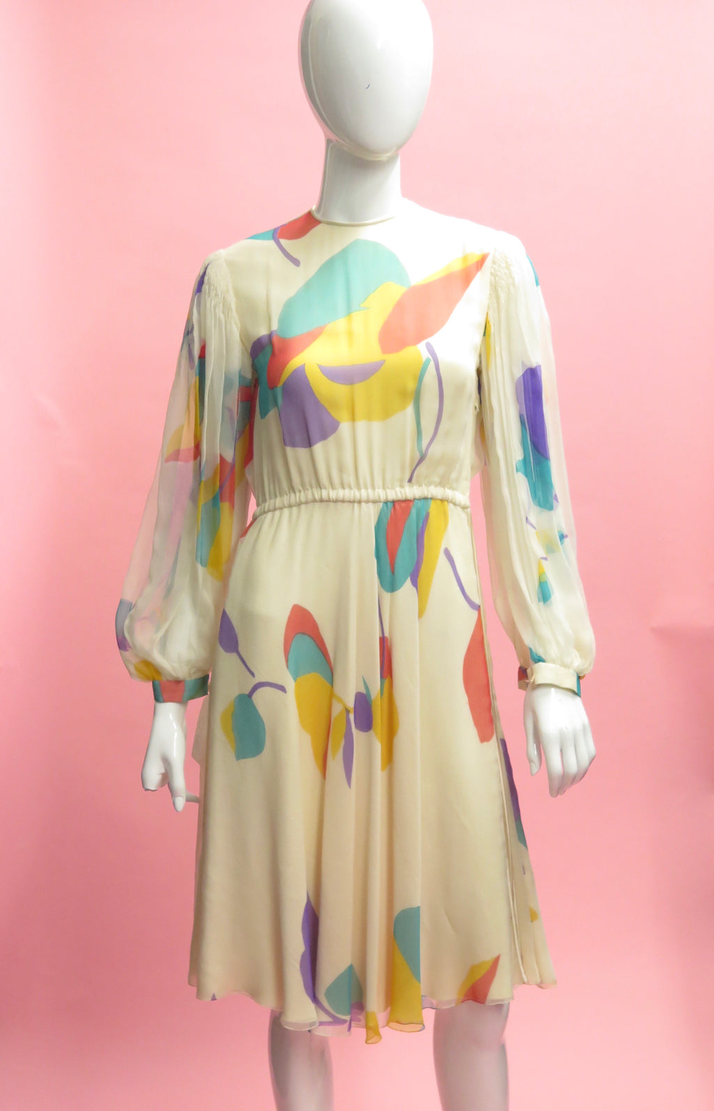 Galanos Floral Silk Chiffon Bishop Sleeve Dress