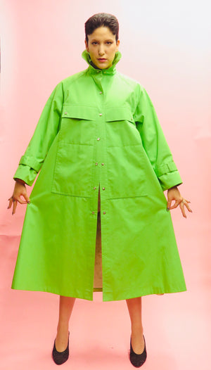 1960's Bonnie Cashin Lime Snap Button Duster