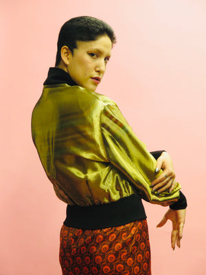 1990's Ozbek Gold Silk Cropped Bomber Jacket